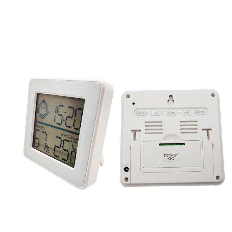 温美测LBT-627家用温湿度计可充电 电子室内外温湿度计 闹钟日期天气预报